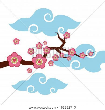 branch with pink flowers over clouds shapes and white background. colorful design. vector illustration