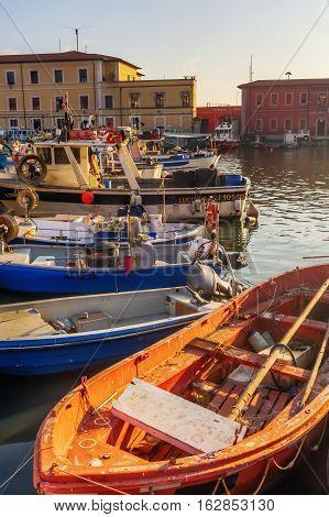 Sailboats In The Marina Of The Port Of Livorno, Italy