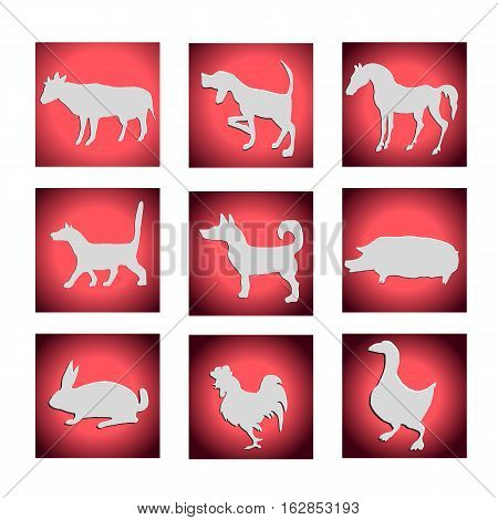 Vector set of farm animals. Dog cat cow horse pig goose rabbit rooster.