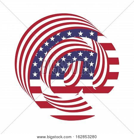 Letter email sing from 3d with American flag texture wrapped. Volume USA vector font
