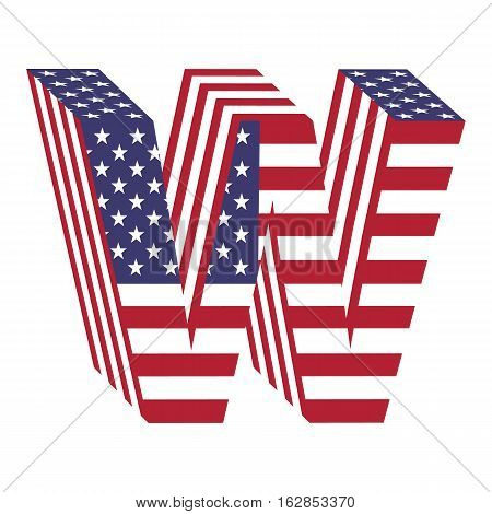Letter W from 3d with American flag texture wrapped. Volume USA vector font