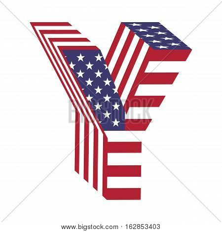 Letter Y from 3d with American flag texture wrapped. Volume USA vector font