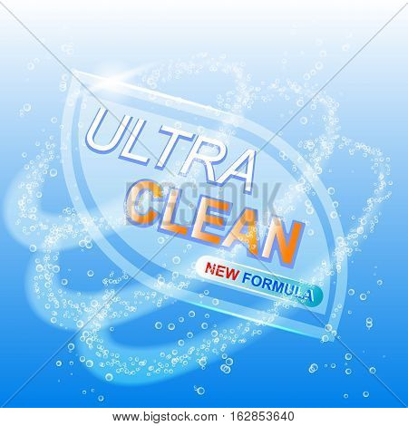 Ultra clean for white. Template for laundry detergent. Package design for Washing Powder Liquid Detergents. Stock vector