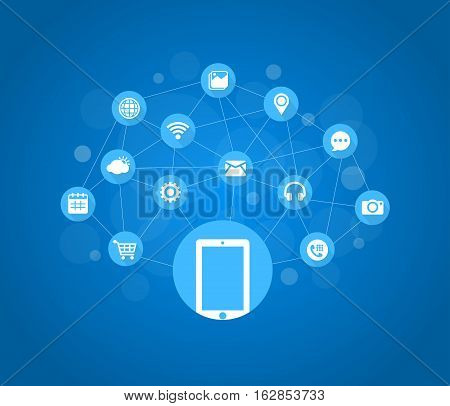 Vector Illustration of Mobile Technology. Best for Mobile, Social Media, Internet, Technology concept.