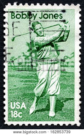 UNITED STATES OF AMERICA - CIRCA 1981: A used postage stamp from the USA celebrating the life of famous golfer Bobby Jones circa 1981.