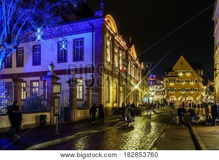 Editorial: 22Nd December 2016: Colmar, France. Christmas Highlighting In The Streets.