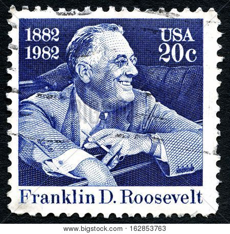 UNITED STATES OF AMERICA - CIRCA 1982: A used postage stamp from the USA depicting an illustration of Franklin D. Roosevelt and comemorating the 100th Anniversary since his birth circa 1982.