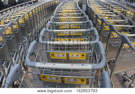 lot of trolleys for baggage at the airport.