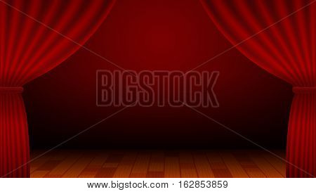 Vector Illustration of Red Curtain Stage. Best for Backgrounds, Awards, Retro, Entertainment, Design Element, concept.