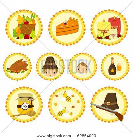 Set of cute Thanksgiving icons - Pilgrim characters and items.