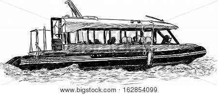 Vector drawing of a river pleasure boat.
