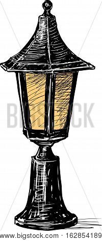 Vector drawing of an old street light.