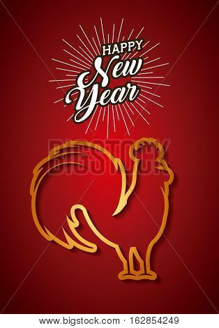 happy new year card with rooster icon over red background. colorful design. vector illustration