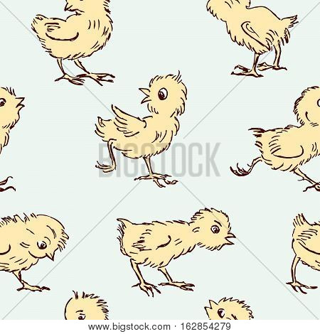 Vector pattern of the funny little chickens.