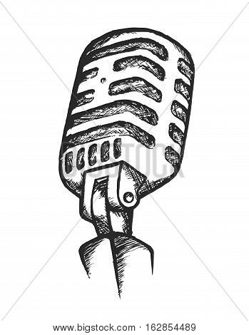Vector Illustration of Vintage Microphone. Best for Music, Broadcasting, Entertainment, Doodle Concept.