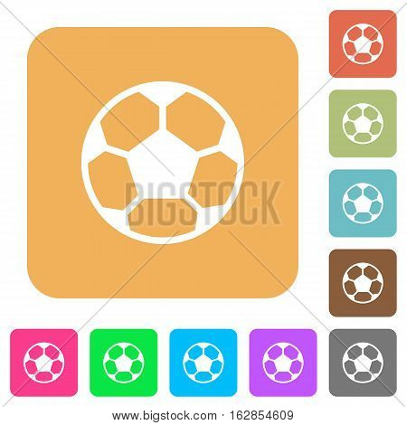 Soccer ball icons on rounded square vivid color backgrounds.