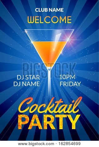 Cocktail Invitation design poster. Cocktail Party drink banner card or flyer template vector.