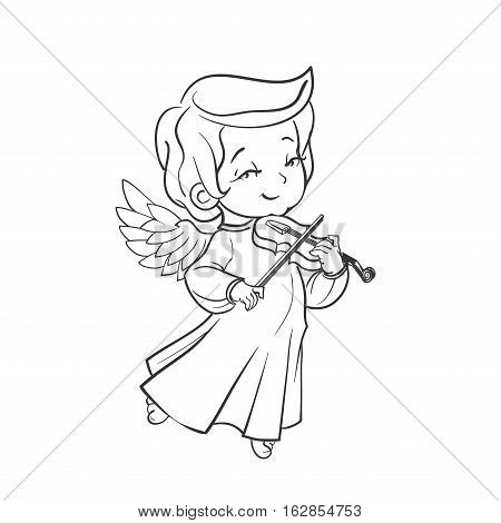 Cute smiling baby angel making music plaing violine. Vector illustration. Good for seasonal greeting, redwork, coloring page. Ink line work, contour