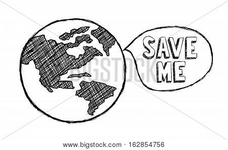 Vector Illustration of Earth Climate Change Doodle. Best for Environment, Ecology, Climatology, Conservation, Design Element concept.