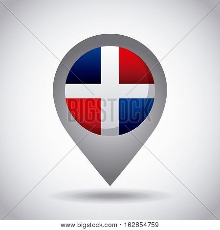 dominican republic country flag pin icon over white background. colorful design. vector illustration
