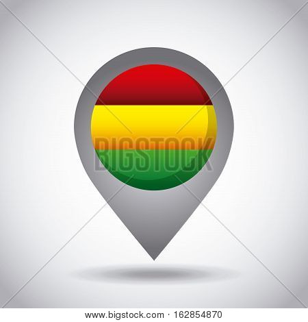 bolivia country flag pin icon over white background. colorful design. vector illustration