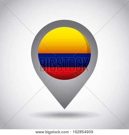 colombia country flag pin icon over white background. colorful design. vector illustration