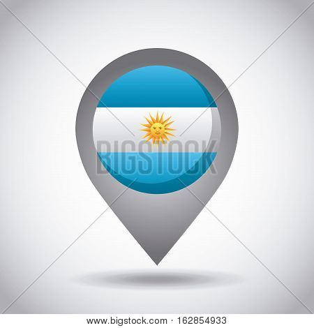 argentina country flag pin icon over white background. colorful design. vector illustration