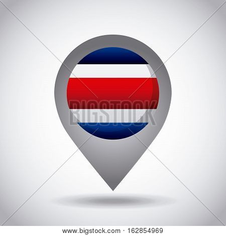 costa rica country flag pin icon over white background. colorful design. vector illustration