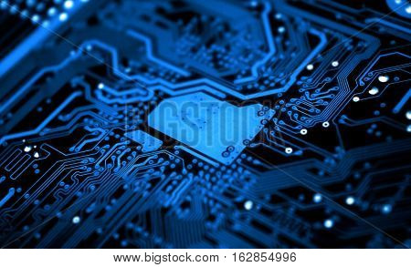 Close-up view of Circuit Board. Best for Computers, Technology, Robotics, Electronics, Information Technology concept.