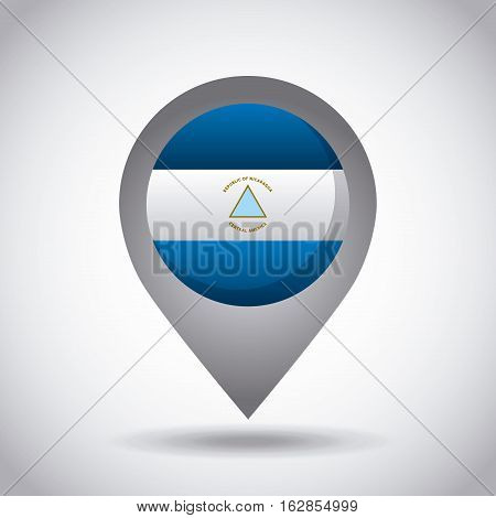nicaragua country flag pin icon over white background. colorful design. vector illustration