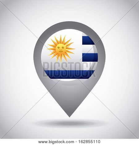 uruguay country flag pin icon over white background. colorful design. vector illustration