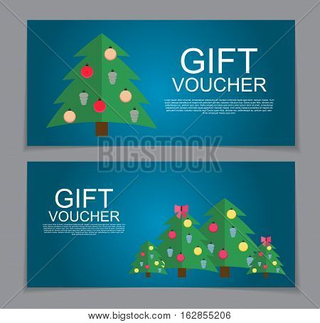 Gift Voucher Template for Christmas and New Year Discount Coupon  Vector Illustration EPS10