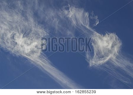 interesting forms of clouds in the blue sky