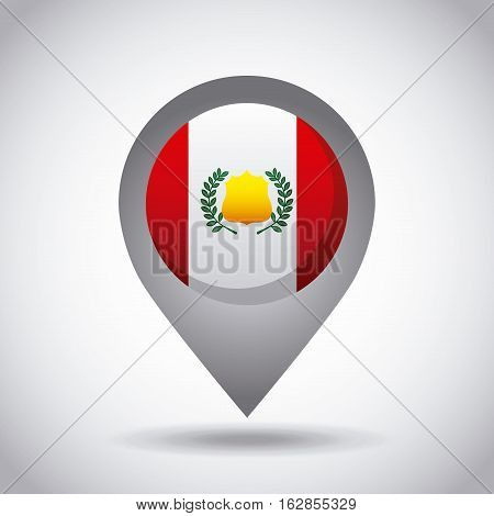 peru country flag pin icon over white background. colorful design. vector illustration