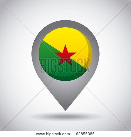 guiana francesa country flag pin icon over white background. colorful design. vector illustration