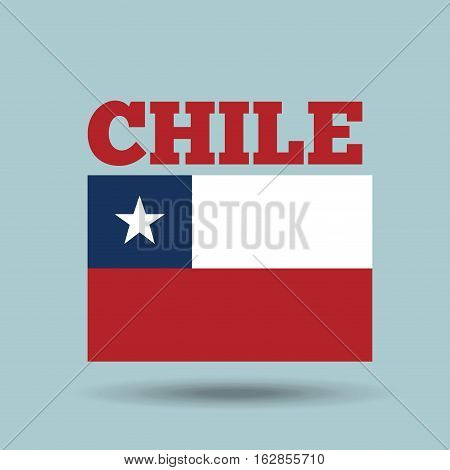 chile country flag icon over blue background. colorful design. vector illustration