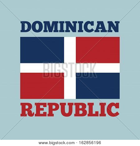 dominican republic country flag icon over blue background. colorful design. vector illustration