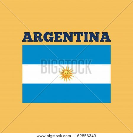 argentina country flag icon over yellow background. colorful design. vector illustration