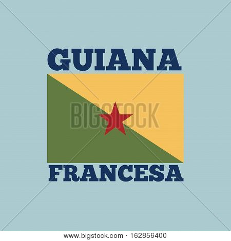 guiana francesa country flag icon over blue background. colorful design. vector illustration