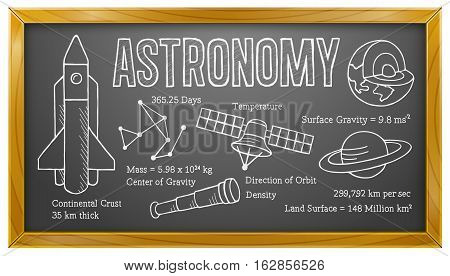 Vector Illustration of Astronomy on Blackboard. Best for Astronomy, Science, Education, Research, Technology Concept.