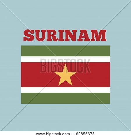 surinam country flag icon over blue background. colorful design. vector illustration