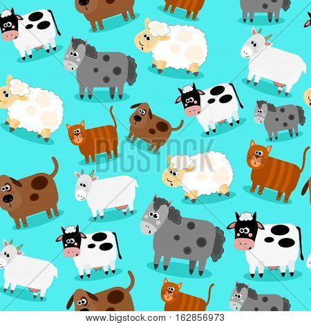 Funny farm animals and pets seamless collection. Isolated sheep, cow, donkey goat, cat and dog. Vector illustration.