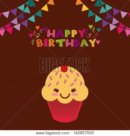 happy birthday card with cartoon cupcake icon and party pennants decorations. colorful design. vector illustration