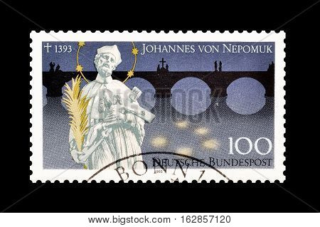 GERMANY - CIRCA 1993 : Cancelled postage stamp printed by Germany, that shows Johannes von Nepomuk.