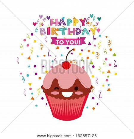 happy birthday card with cartoon cupcake icon. colorful design. vector illustration