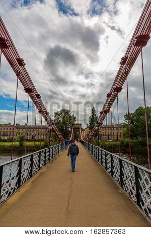 South Portland Street Suspension Bridge In Glasgow, Scotland