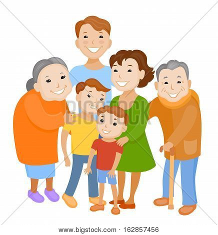 Fun cartoon family in colorful stylish clothes. Father mother children grandmother and grandfather all together one family