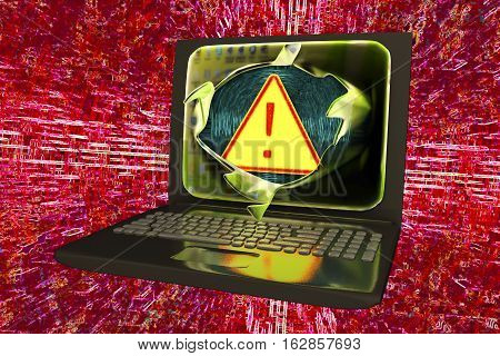 Computer virus, conceptual image. 3D illustration showing bursting of laptop screen and virus alert sign