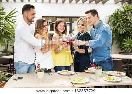 Friends Celebrating With Some Wine