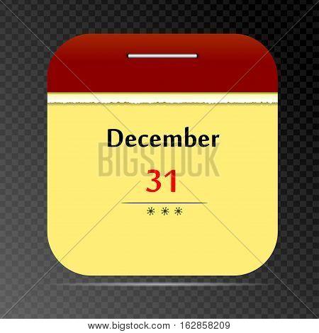 Tear-Off Calendar Icon. December 31. Vector flat illustration